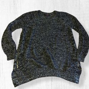 Reunited clothing zip crew neck marked sweater